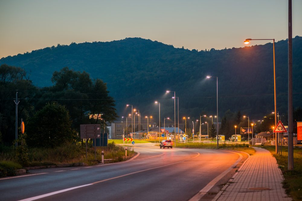 moderné verejné osvetlenie mesa obce Detva