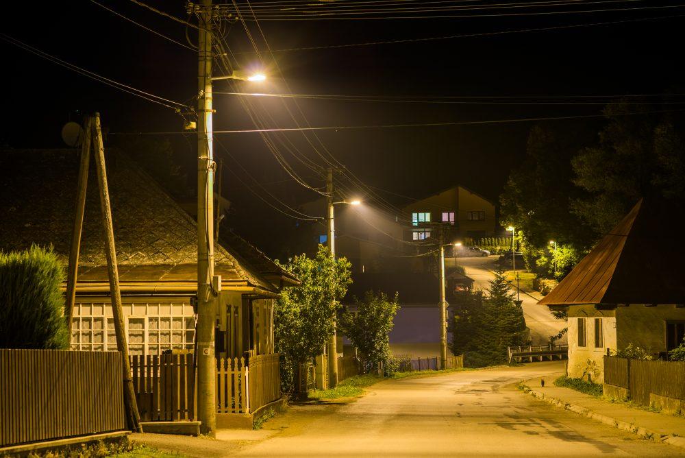 LED moderné verejné osvetlenie mesta obce Vyšný Kubín