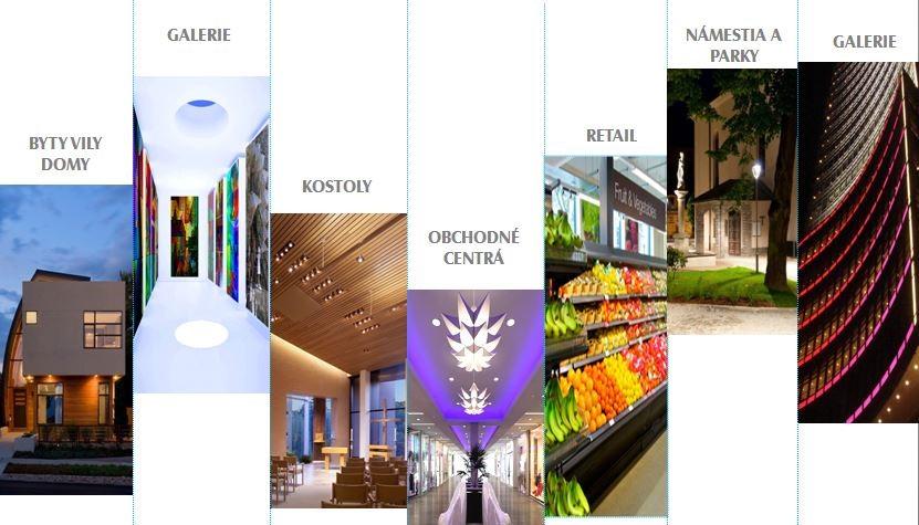 osvetlenie elektroinštalácie pre byty vily domy, galérie, kostoly, obchodné centrá, retail, predajne, námestia a parky, galérie, múzeá